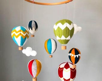 Large Felt Hot Air Balloon Mobile with Clouds