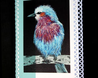 Bird card, lilac breasted roller bird, blue bird card, greetings card, papercraft card, roller bird card, art print card, art card,