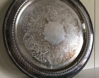 Vintage Silver Serving Tray Platter - Ornate Round Serving Tray - Food Photography Props - WM Rogers 162 - Bar Cart Decor - Bar Tray