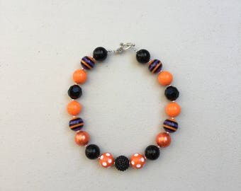 Halloween, Orange and Black, Chunky Bead Necklace, Girls Bubblegum Beads