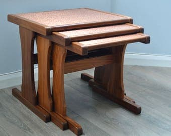 Retro Mid Century Vintage G Plan Nest of Tables with Copper Top, Side Tables, GPlan, Coffee Table, Teak