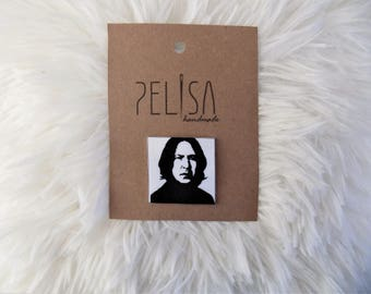 Harry Potter Professor Severus Snape Alan Rickman After all this time Always Stencil art Handmade Pin Black and white