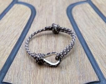 Handmade Customized Nautical Sailing Bracelet 925 Silver Brown Beige Sailors Bracelet | Personalized Men present | Adjustable size, Unisex
