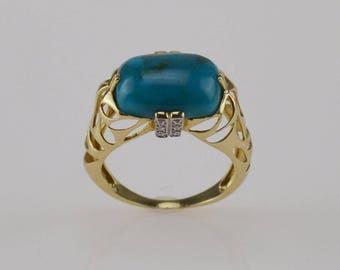 14k Yellow Gold Turquoise & Diamond Ring Size 8.25 4.2 Grams(01242)