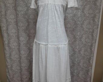 White Cotton and Lace Beach Boho Wedding Dress, Casual Wedding Dress, Simple Cotton Wedding Dress, Hippie Wedding Dress
