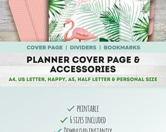 PLANNER COVER PAGE & accessories, Printable, cover page, divider, bookmark, envelope, stickers, A4, A5, Letter, Half letter, Happy, Personal