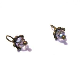10PC. Translucent Pink Ice AB Austrian Crystal Flower Bead Dangle/Delicate Handmade Crystal Bead/Antique Bronze Tone Plated Bead FlowerCharm