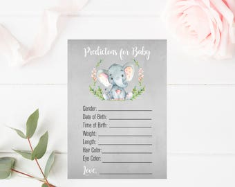 Predictions for Baby Printable Games, Baby Shower Printable Games, Watercolor Baby Shower Games, Girl Baby Shower, Elephant Printable Games