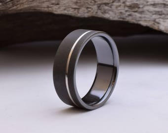 wedding band mens black titanium ring with a matt blasted finish and an offset grove - Mens Wedding Rings Black