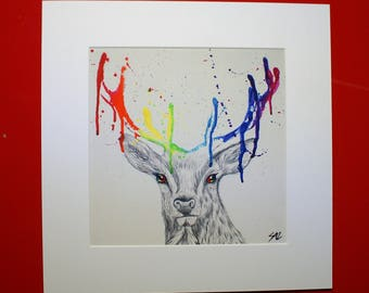 Abstract multicoloured/rainbow stag mounted print