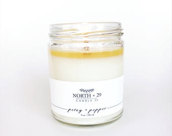 PEONY + PEPPER Scented Candle - 8 oz Soy Candle - Woodwick Candle - Crackling Candle - Valentine's day candle - Unisex candle - Spicy floral