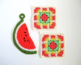 Colorful Pot Holders, Vintage Crocheted Hot Pads, Watermelon Pot Holder, Cheerful Home Decor