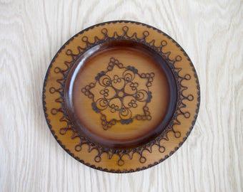 Vintage Pyrography Wood Mandala Buddhist Decor