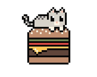 Burger Cat Cross Stitch Pattern-PDF Download