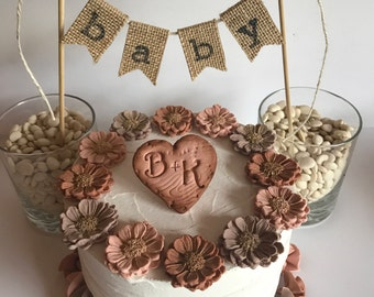 Fondant Personalized Engraved Heart Sugar Flowers Cupcake Topper Burlap Cake Banner Birthday Rustic Wedding Fall Cake Decoration