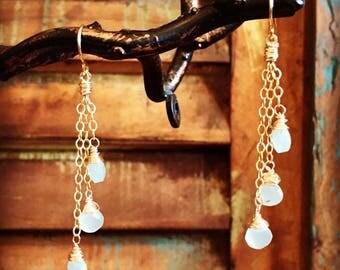 Aqua Chalcedony Waterfall Earrings