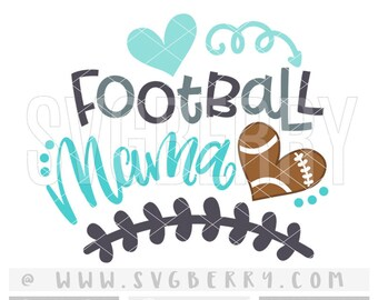 Football Mama SVG / Football Mom Shirt Tshirt / Football Heart Iron On / Gifts For Mom / Football Spirit Shirts Applique Cutting Files / Bk