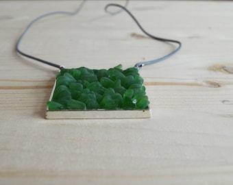 Green beach glass square pendant necklace