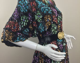 Vintage Pure Silk by Kraftman's Colorful Floral Sequined and Beaded Blouse/Size 20