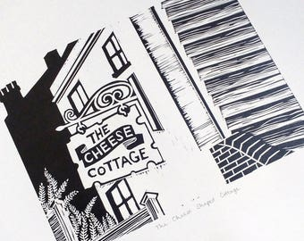 Cheese Shaped Cottage Lino Print