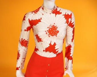 Vintage 1960s Red & Cream Floral Print High Neck Mini Dress. Mod Dress. UK 6 US 2