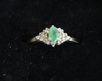 Emerald Diamond Ring Size 8