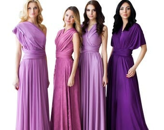 Bridesmaid Dress Infinity Dress Mauve Dusty Rose Floor Length Maxi Wrap Convertible Dress Wedding Dress