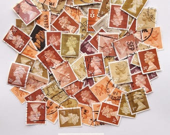 Rustic Browns Colour-themed Used Old Postage Stamps; scrapbook, paper ephemera, collage, decoupage, wood, forest, mail art