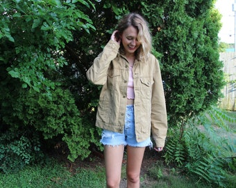 Levi's Khaki Jacket With Corduroy Collar and Flannel Lining