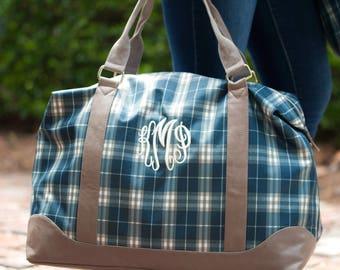 Monogrammed Middleton Plaid Weekender..Personalized Fall Weekender..Classic Preppy Luggage..Preppy Plaid Bag