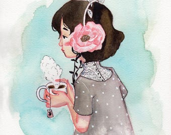 Original Watercolor Painting. Poppy Headphones Girl Sipping Tea. 8x10 inches.