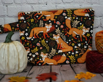 Autumn Fox Small Project bag, Knitting project bag, Crochet project bag,  Zipper Project Bag, Yarn bowl, Yarn tote