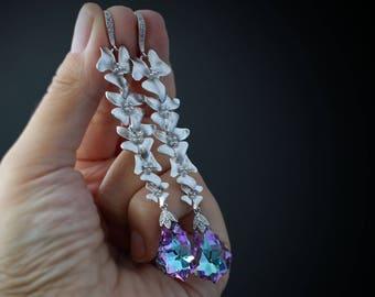 Swarovski Crystal Earrings Swarovski Earrings Long Earrings Teardrop Earrings Drop Earrings Lilac Earrings Romantic Earrings gold earrings