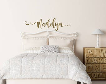 Gold Name Decal Etsy - Custom vinyl wall decals nursery