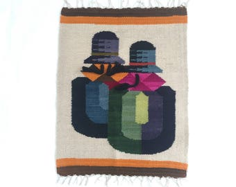 Mid Century Mexican Evelyn Ackerman Style Wool Wall Hanging Tapestry Weaving