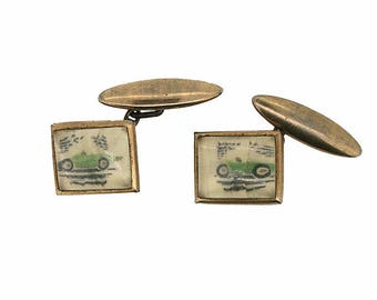 1950s Plastic and Gilt Metal Vintage Car Design Cufflinks
