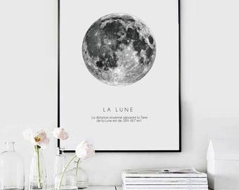 La Lune | Moon print, Moon art, Scandinavian print, Art print, Digital download, Instant download - PDF and JPG