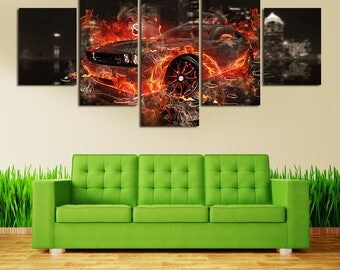 5 Panels Flaming Car Canvas Art Multi Grouped Art Work