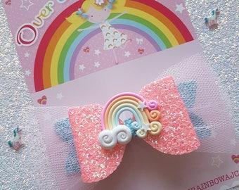 Glittery rainbow bow, hair clip, hair bow, glitter bow