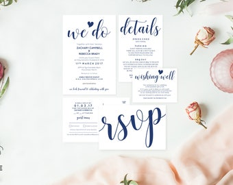 Navy wedding invitation set, Boho wedding invites, Editable pdf invitation, Editable wedding invitation, We do invites, Navy wedding suite