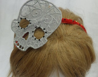 Diamante Skull Fascinator Headband -- ONE-OFF