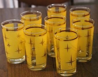 1950's yellow atomic starburst high ball glasses