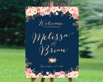 Modern Wedding Sign, Gold Confetti Wedding Welcome Sign, Navy Blue, Navy and Gold, Personalized, DIY Printable - US_WS0105b