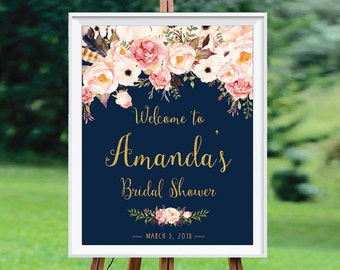 Bridal Shower decoration, Bridal Shower sign, Bridal Shower Welcome Sign, PRINTABLE Welcome sign, pink gold party decor - US_WS0107