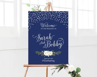 Wedding Welcome Sign, Sliver Confetti, Sliver Foil Wedding Welcome Sign, Navy and Sliver Foil, Christmas Wedding sign, Winter Wedding sign