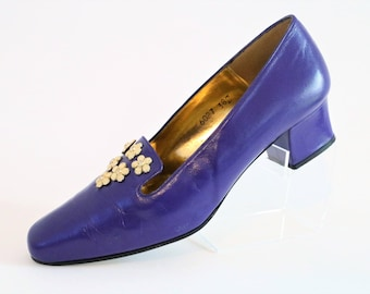 Davina Purple Court Pumps Shoes with Gold Flowers/Slip-on Shoes/Retro Shoes/Vintage Shoes/UK Size 5.5/Euro Size 38.5/1990's