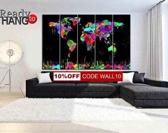World Map Print, World Map, Wall Decor, LARGE Map Canvas, World map Canvas, World Map Poster, World Map Gift, World Map Print