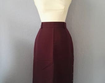 50s Rock true vintage 38 M bordeaux purple pencil skirt mad men Office pin up purple waist
