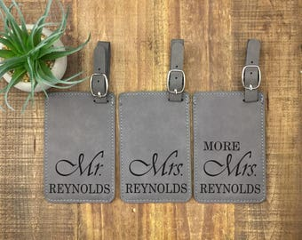 Personalized Mr & Mrs Luggage Tags - Set of 3 - Luggage Tags - Wedding Gift - Travel Tags - His and Hers Luggage Tags - Mr Mrs and More Mrs
