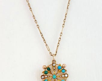 Victorian 9ct Gold Turquoise & Seed Pearl Necklace
